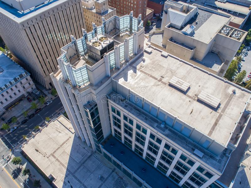 Aerial Drone Bird`s Eye View of City of Raleigh, NC. Drone Aerial City View of High Rises, Rooftops, streets and city life; downtown Raleigh, NC stock image
