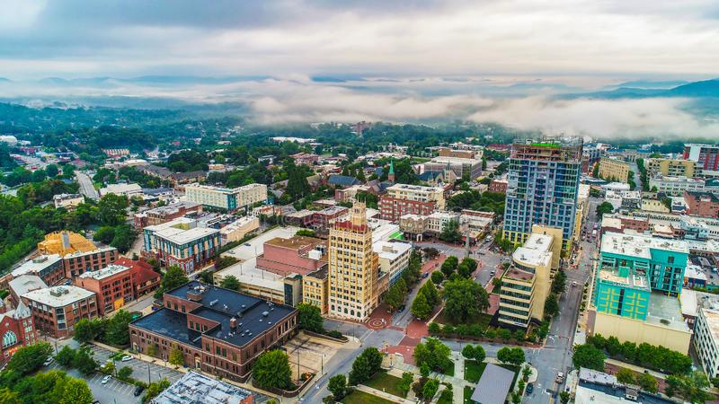Drone Aerial of Downtown Asheville North Carolina NC Skyline.  royalty free stock photography