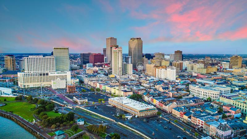 Drone Aerial of Downtown New Orleans, Louisiana, USA Skyline royalty free stock photography