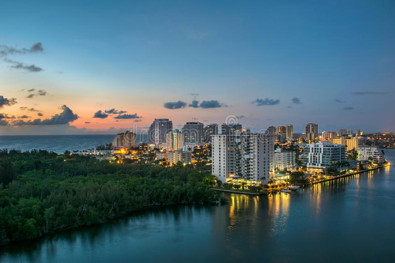 Drone Aerial of Fort Lauderdale Beach Skyline stock photo