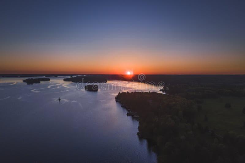 Drone/aerial image taken during sunset over Lake Muskoka. Located near Bracebridge, Ontario, Canada. Image taken during sunset over Lake Muskoka located near royalty free stock photography