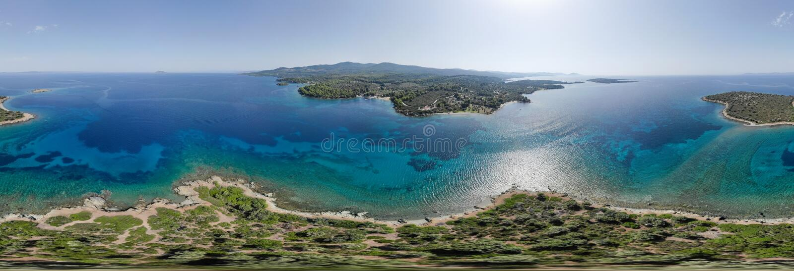 Drone aerial 360 panorama of island near sea shore.  royalty free stock photography