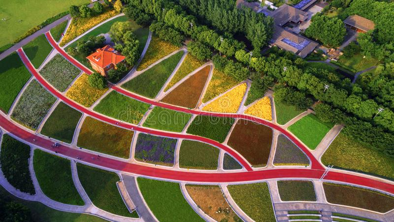 Aerial photography - rustic pastoral. This is a drone aerial photograph of the color pastoral of Jiangxinzhou, Nanjing, China stock photography