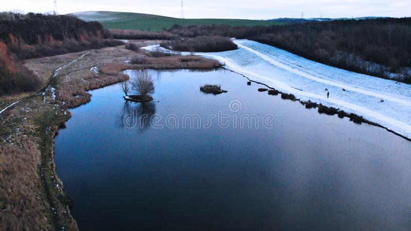 Drone aerial photograph of snowy pond. Created by dji camera royalty free stock images