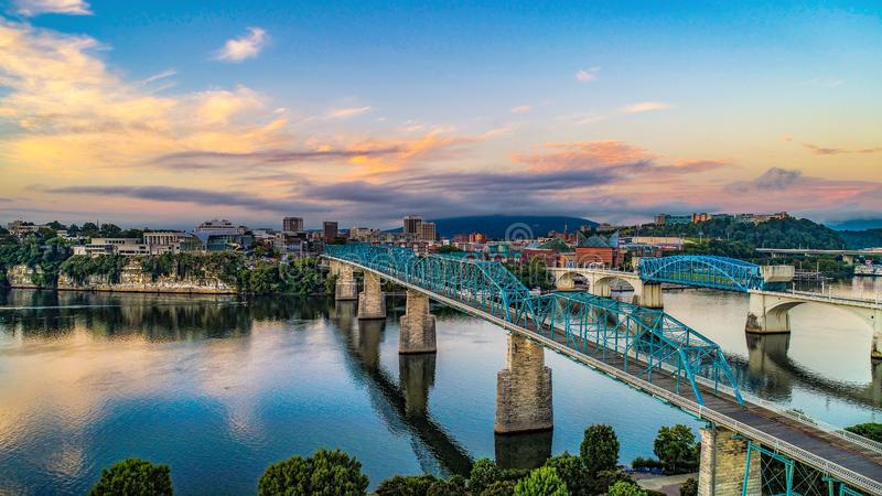 Drone Aerial View of Downtown Chattanooga Tennessee and Tennessee River. Drone Aerial View of Downtown Chattanooga Tennessee TN and Tennessee River royalty free stock photos
