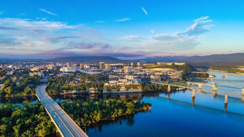 Downtown Chattanooga Tennessee Skyline. Drone Aerial View of Downtown Chattanooga Tennessee TN Skyline and Tennessee River stock photo