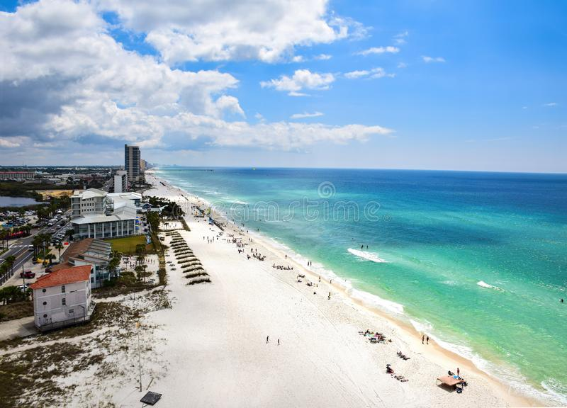 Spring Break Aerial Panama City Beach, Florida, USA. Drone Aerial View of Panama City Beach Florida FL during Spring Break stock image