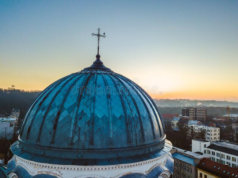 Drone aerial view of St. Michael the Archangel`s Church in Kaunas, Lithuania. Drone aerial view of St. Michael the Archangel`s Church Garrison Church. It`s a stock photo
