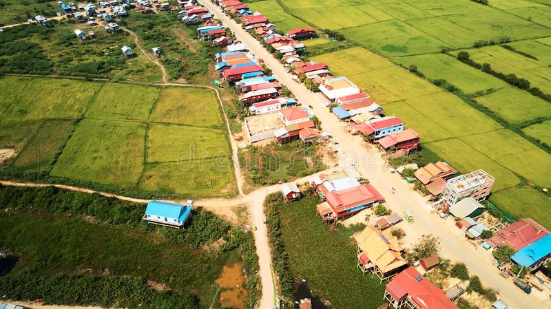 Drone Aerial view of traditionnal village Siem-Reap, Cambodia. Drone Aerial view of traditionnal village in Siem-Reap, Cambodia royalty free stock photos