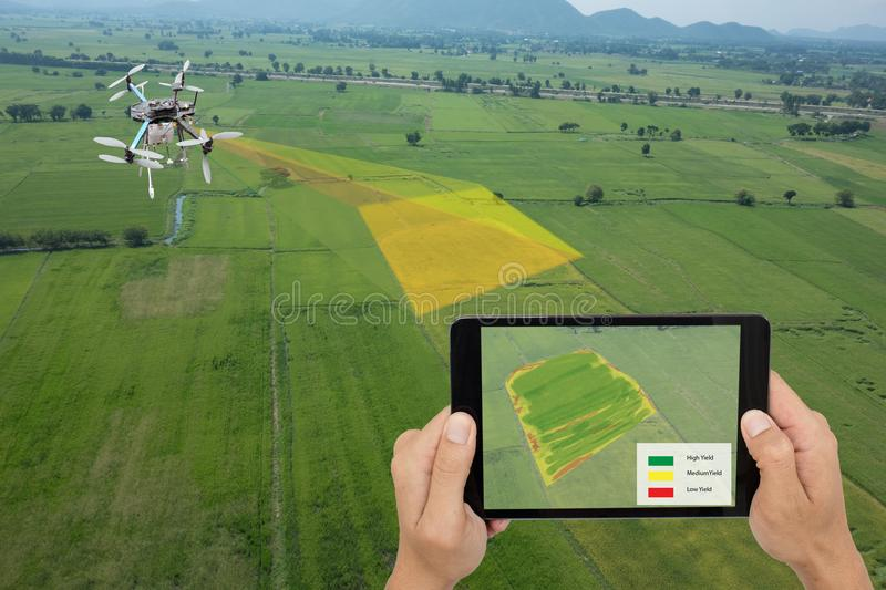Drone for agriculture, drone use for various fields like research analysis, safety,rescue, terrain scanning technology, monitoring royalty free stock images