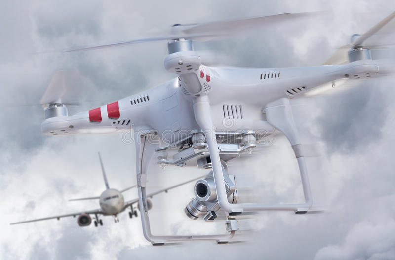Drone and airplane royalty free stock photo