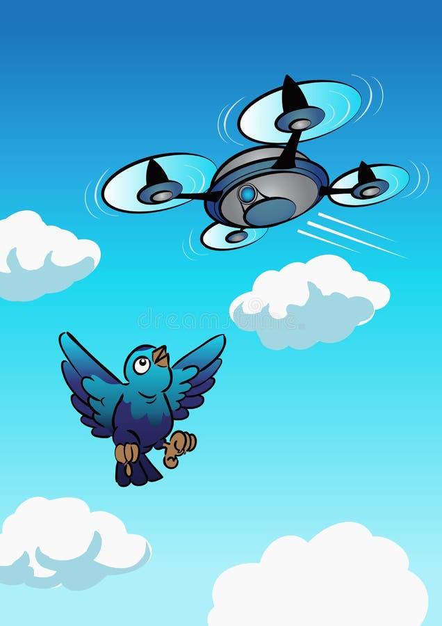 Drone approach to the bird stock photos