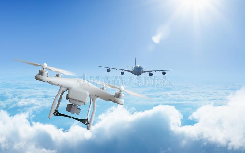 Drone approaches plane in the sky at high altitude. Dangerous incident - drone approaches plane in the sky at high altitude stock images
