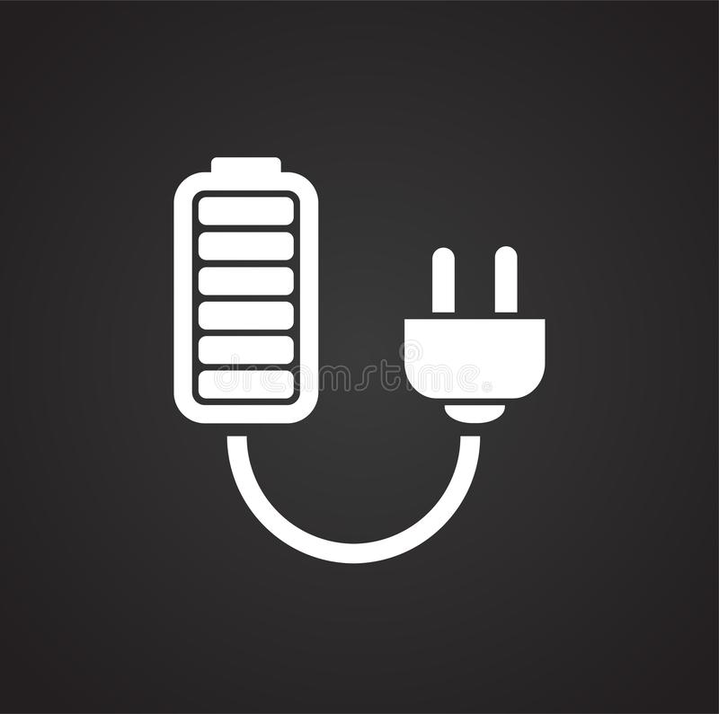 Drone battery charge icon on black background for graphic and web design, Modern simple vector sign. Internet concept. Trendy. Symbol for website design web royalty free illustration