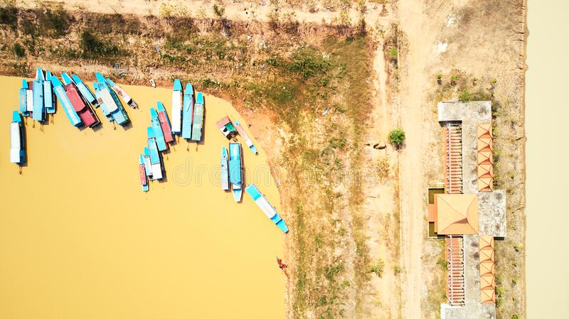 Drone birdeye view Aerial view of boats in Siem-Reap Tonle Sap Cambodia. Drone Aerial view of boats in Siem-Reap Tonle Sap Cambodia royalty free stock photos