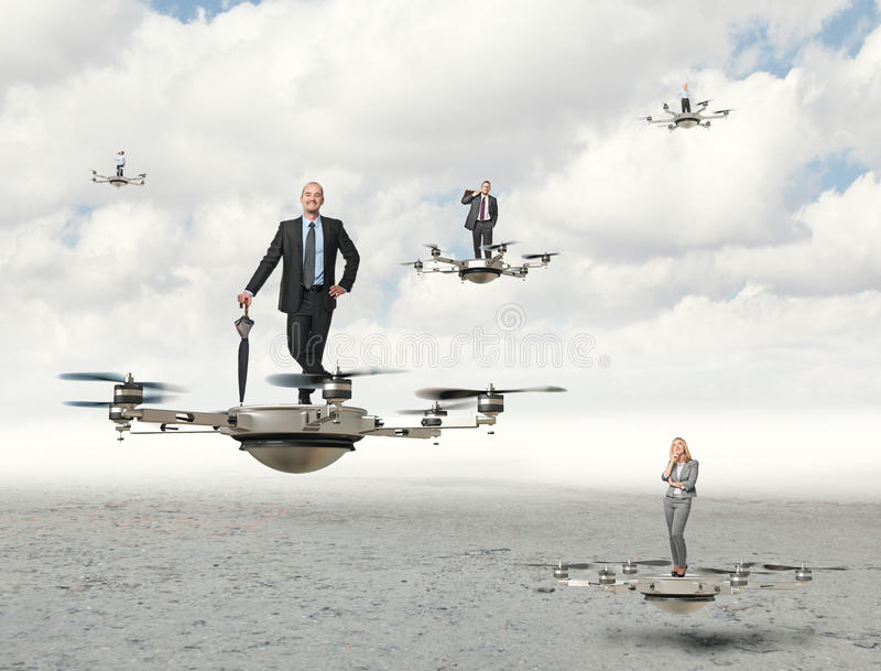 Drone business. 3d image of futuristic drone and business people royalty free stock images