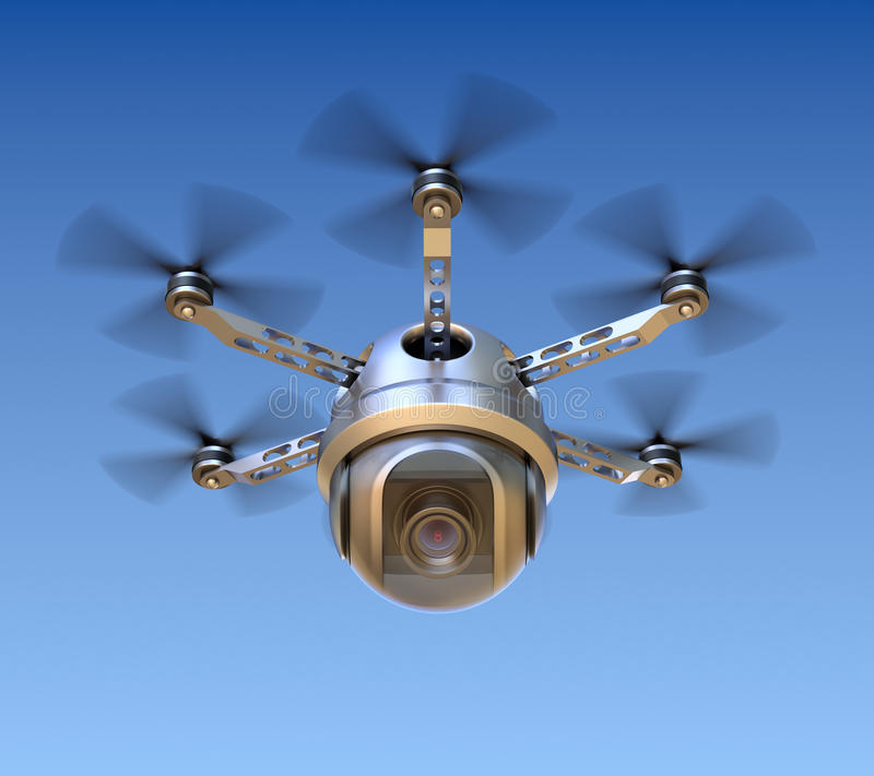 Drone with the camera. 3D concept royalty free illustration
