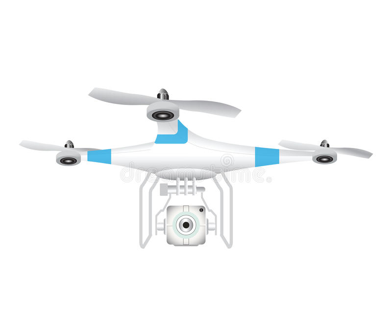 Drone with camera for photography or video on white background. royalty free illustration