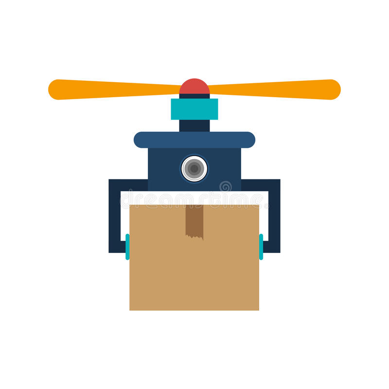 Drone carrying box with one airscrew. Vector illustration stock illustration