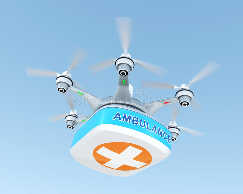 Drone carrying first aid kit stock photo