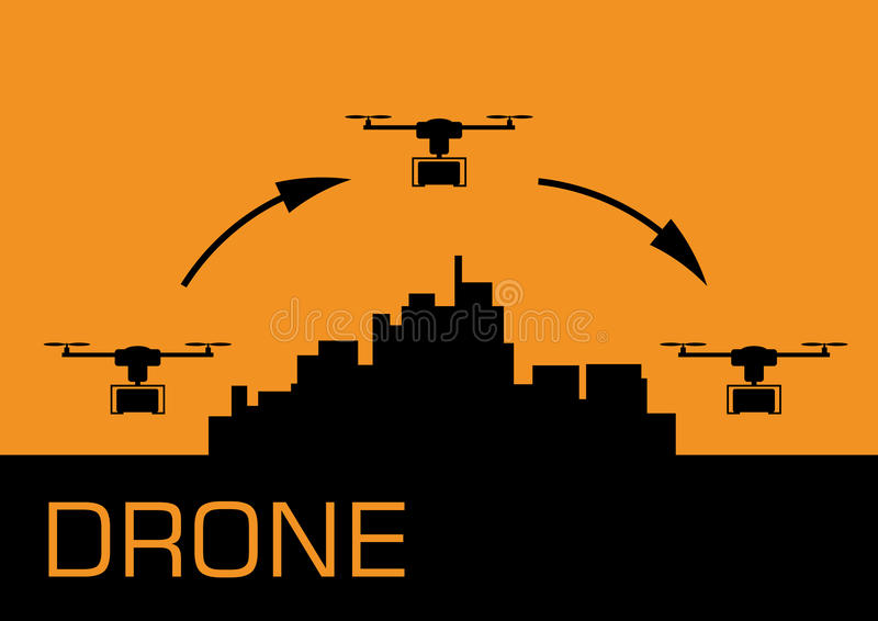 Drone carrying a package stock illustration