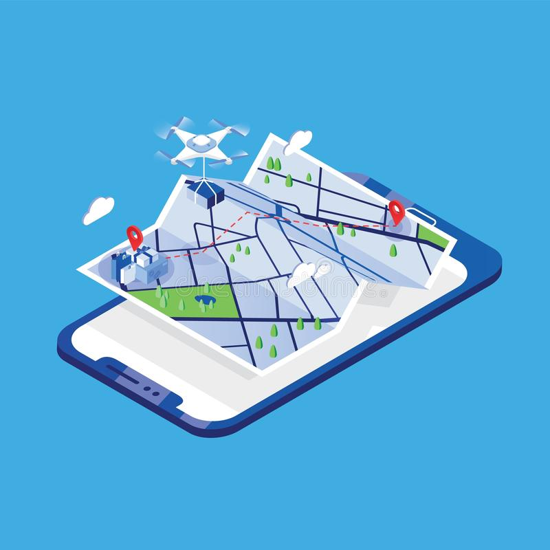 Drone carrying parcel and flying above paper city map and giant mobile phone. Delivery or shipping service with royalty free illustration