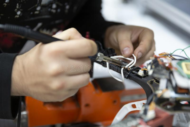 Drone construction, solder construction detail royalty free stock image