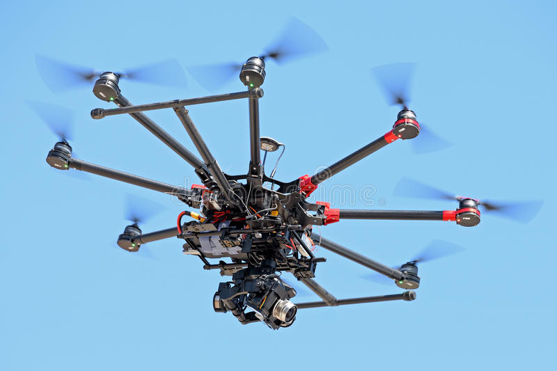 A drone controlled by remote control, to take pictures and video recording at LKXA Extreme Sports royalty free stock photography