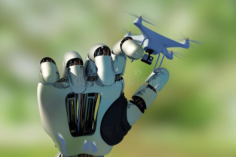 Drone and the Cyborg. Robot hand with drone..3d render royalty free illustration