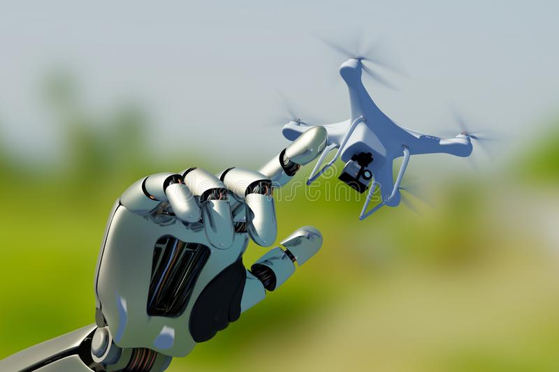 Drone and the Cyborg. Robot hand with drone..3d render stock illustration