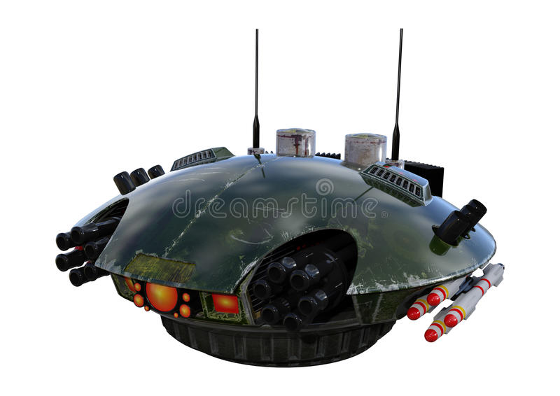 Drone. 3D digital render of a sci-fi drone isolated on white background vector illustration