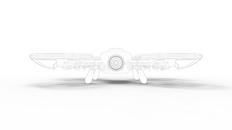 Drone 3d rendering sketch isolated in white studio background vector illustration