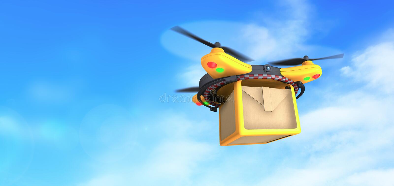 Drone deliver parcel package carton box on blue sky background. Concept illustration, hd images. Illustration of conceptual yellow quadcopter delivery drone in vector illustration