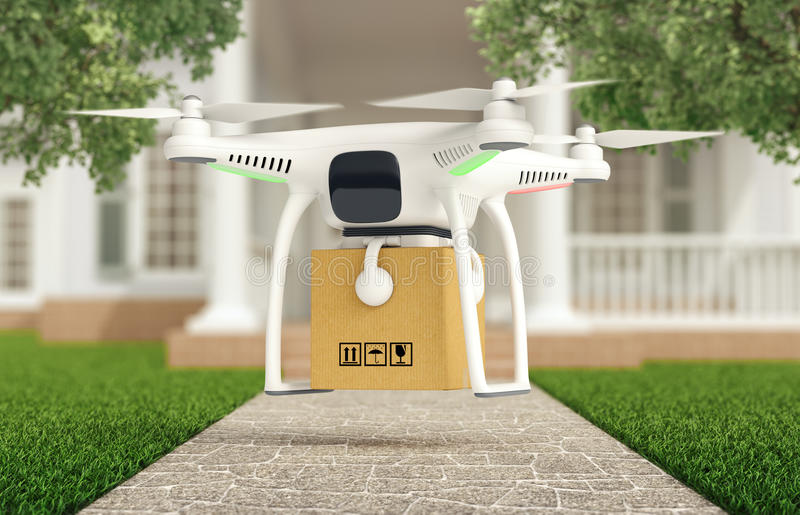 Drone delivers a parcel in front of the house stock photo