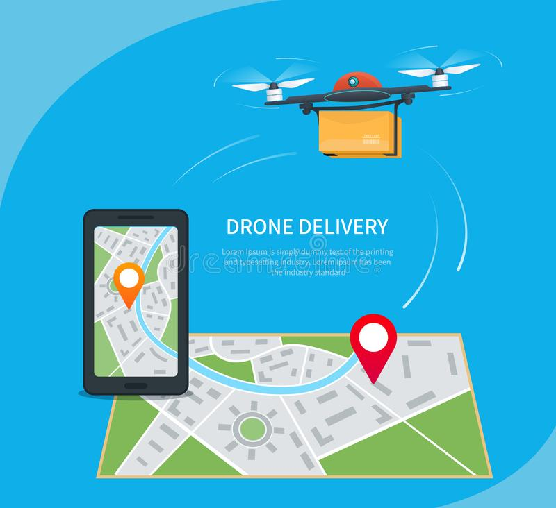 Drone delivery concept. Cartoon quadcopter flying over a map with location pin, carrying a package to customer. Mobile app stock illustration