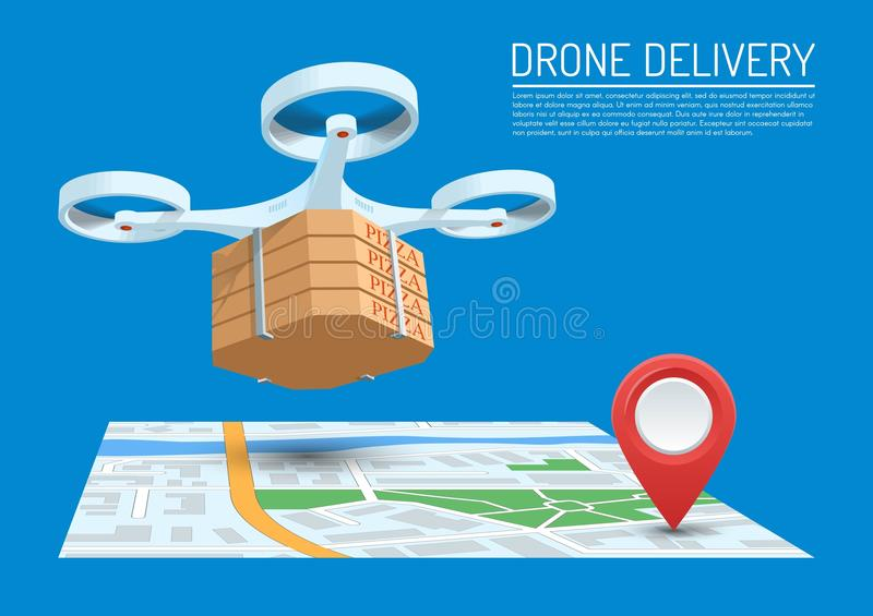 Drone delivery concept vector illustration. Quadcopter flying over a map and carrying a package with pizza. vector illustration