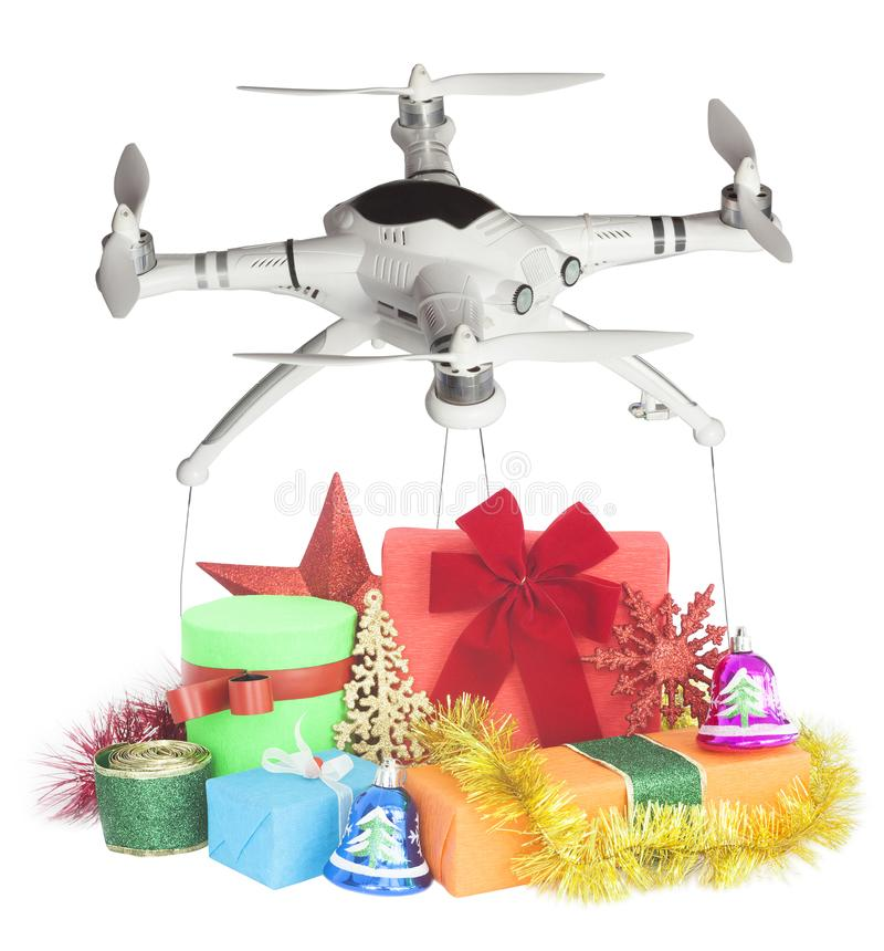 Drone delivery of gifts for Christmas stock photos