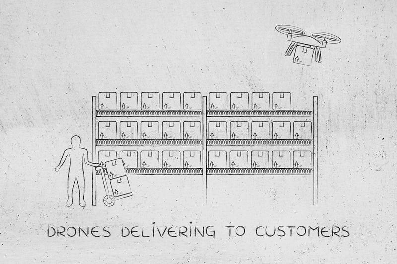 Drone delivery of online order parcel, warehouse version. Drone delivering a parcel from an online order to the customer, collecting the item at the warehouse royalty free illustration