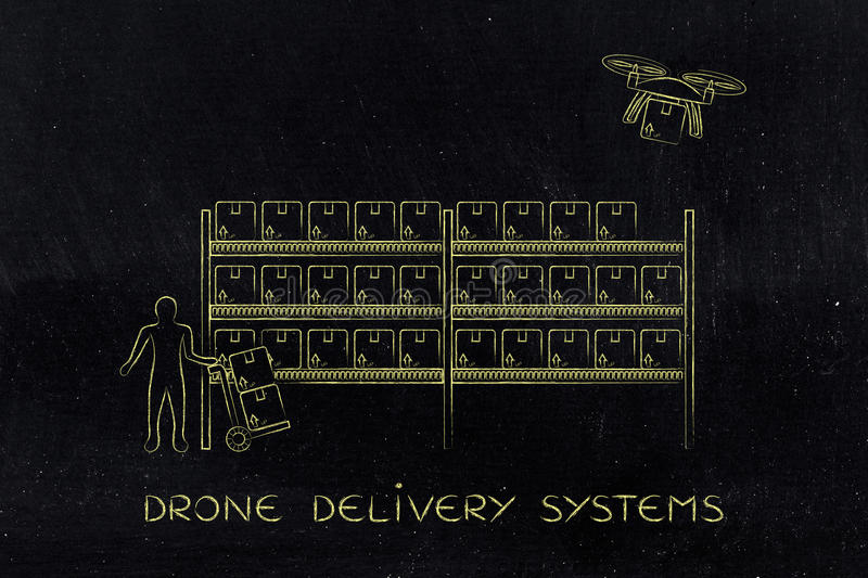Drone delivery of online order parcel, warehouse version. Drone delivering a parcel from an online order to the customer, collecting the item at the warehouse stock photography