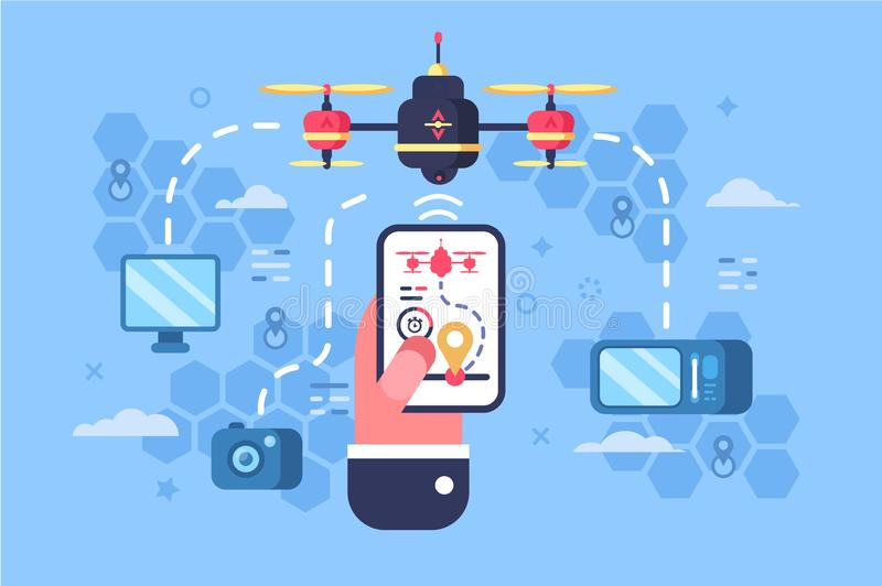 Drone delivery online service stock illustration