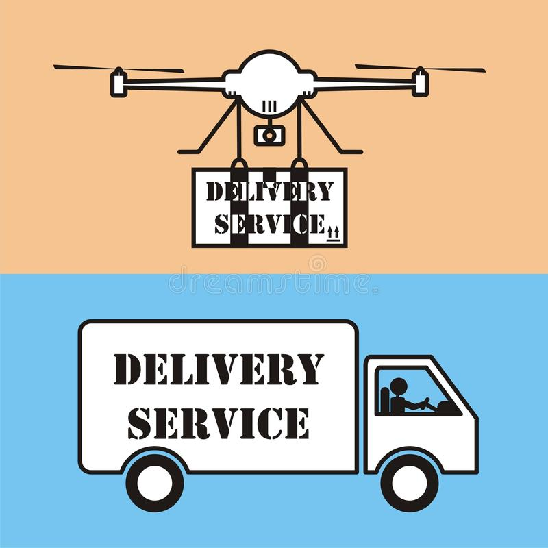 Download Drone Delivery Service VS Car Icon Vector Stock Illustration