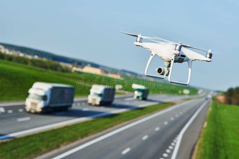 Drone and transportation. drone with camera controls highway road conditions stock image