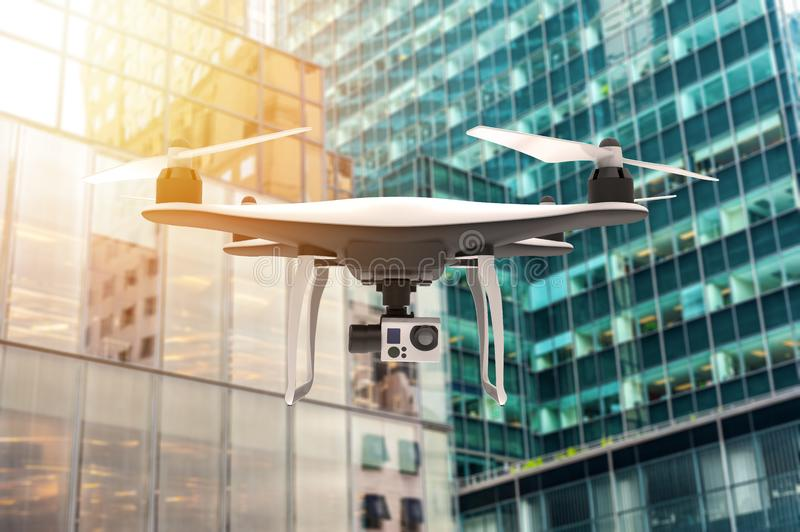 Drone with digital camera flying over a modern city vector illustration