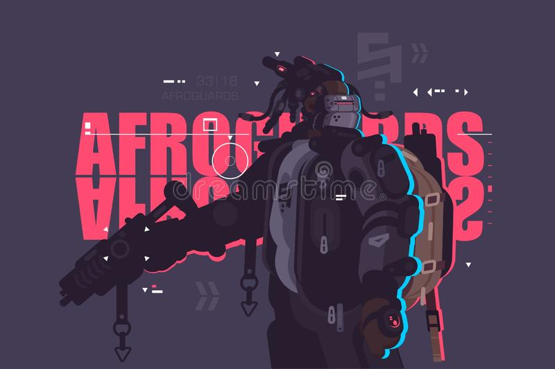 Drone dude afro guard with weapon stock illustration