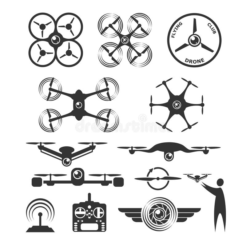 Drone emblems and icons. In vector