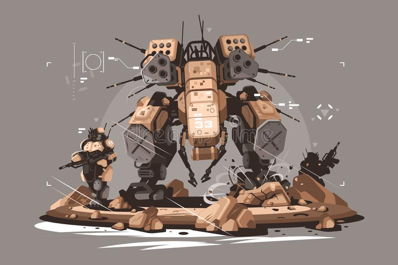 Drone escort infantry. Vector illustration. Military army soldier robot mercenary mechanized and automated flat style concept. Latest robotic technologies stock illustration