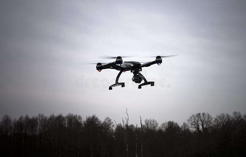 Drone in evening sky royalty free stock image