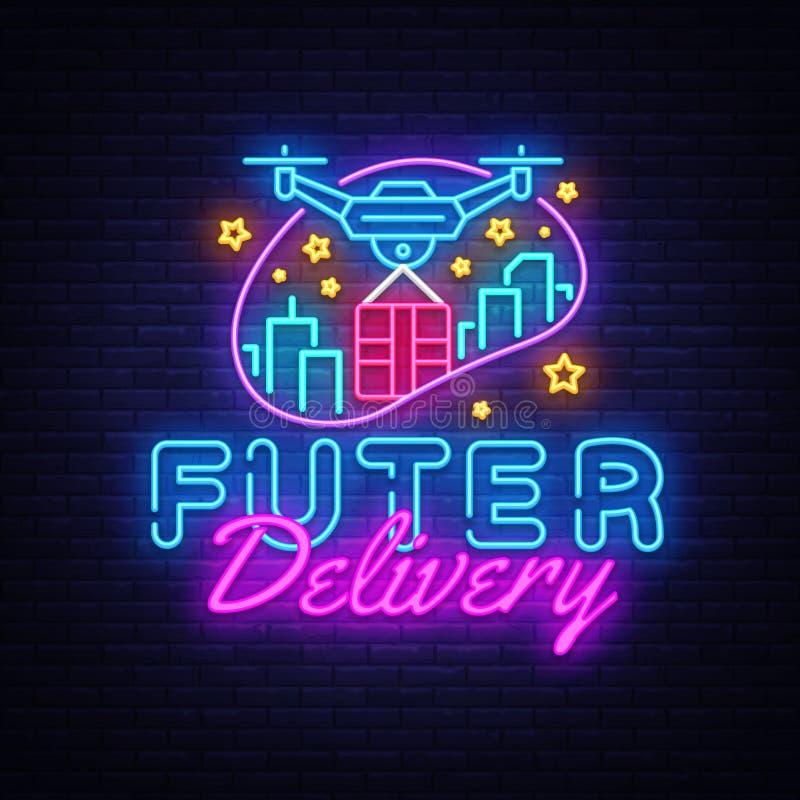 Drone Fast Delivery neon sign vector design template. Future Delivery concept neon logo, light banner design element vector illustration