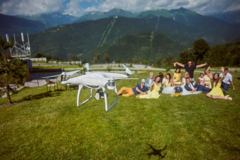 The drone filming wedding from the air on the beautiful landscape royalty free stock photos
