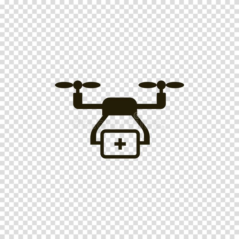 Drone with first-aid kit vector icon vector illustration